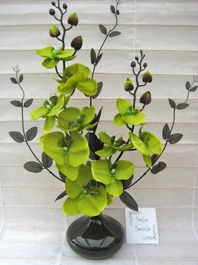 Silk flower arrangements in vases foter silk flower arrangement in round vase lime green black orchids mightylinksfo