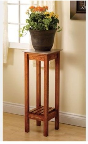 This elegant and simply designed oak plant stand will look