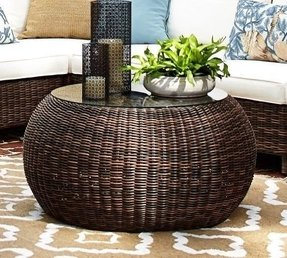 Torrey All Weather Wicker Round Coffee Table Pottery Barn 1