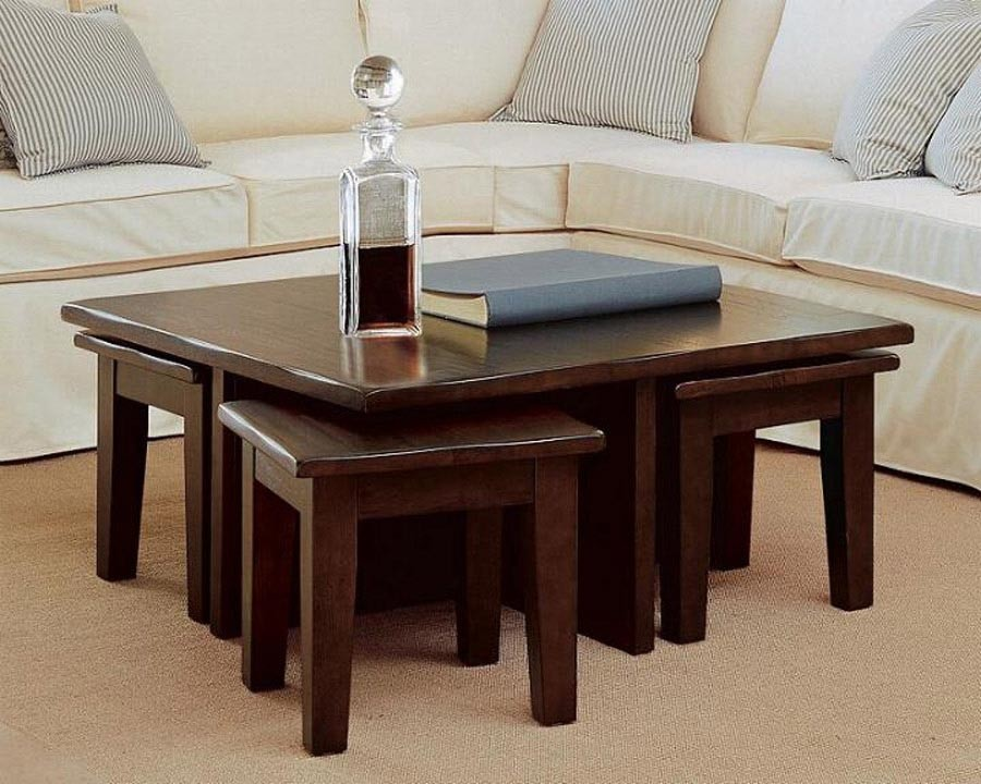 Good View Large Image Of Wooden Coffee Table Stool