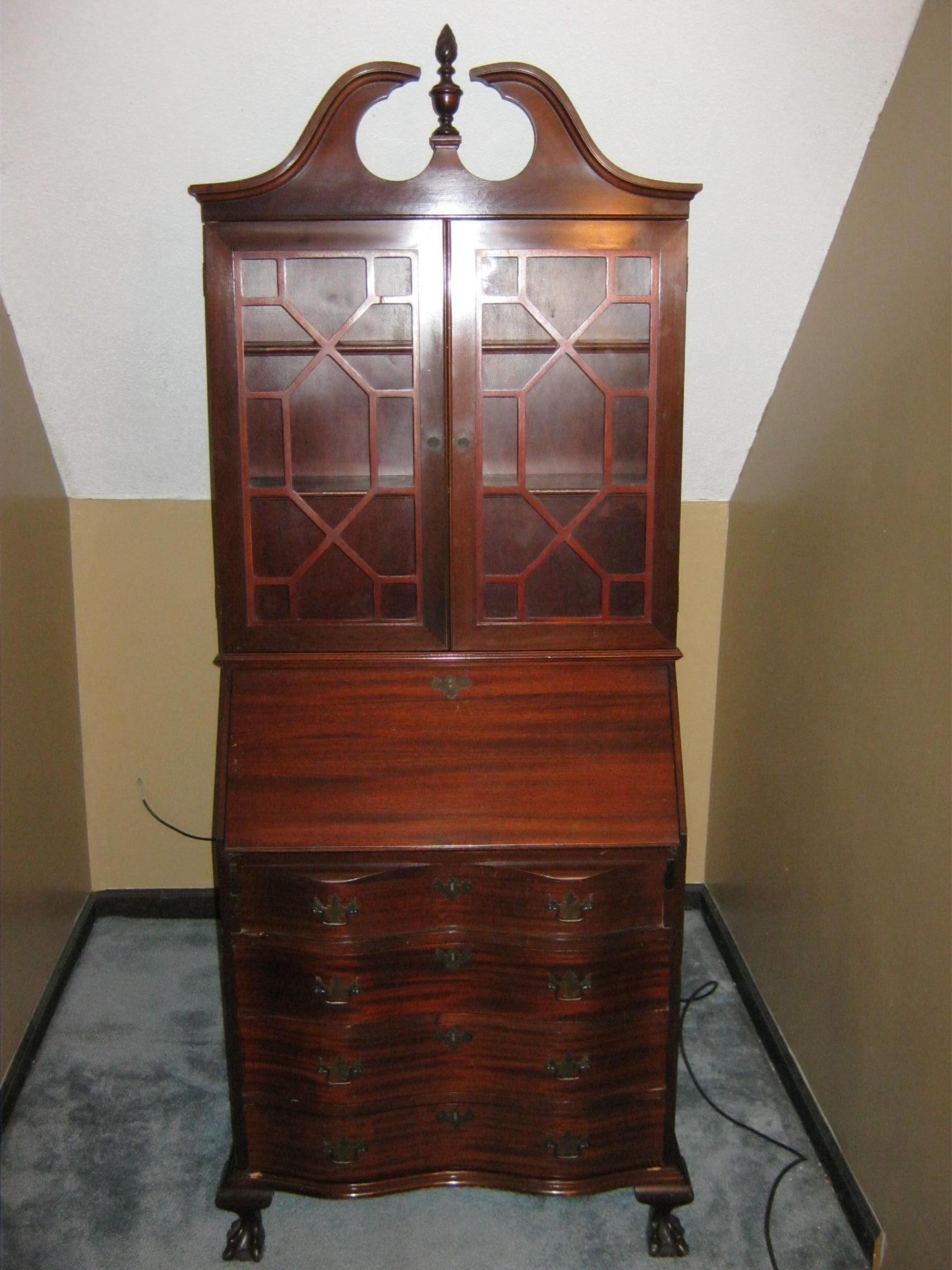 Charmant Antique Secretary Cabinet With Drop Down Desk For Sale