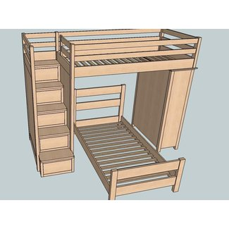 Bunk bed with stairs plans 5