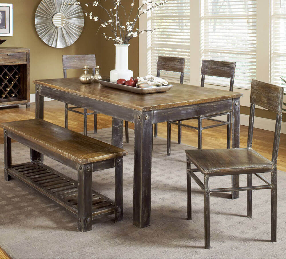 Farmhouse 6 Piece Dining Set : kitchen set table and chairs - pezcame.com
