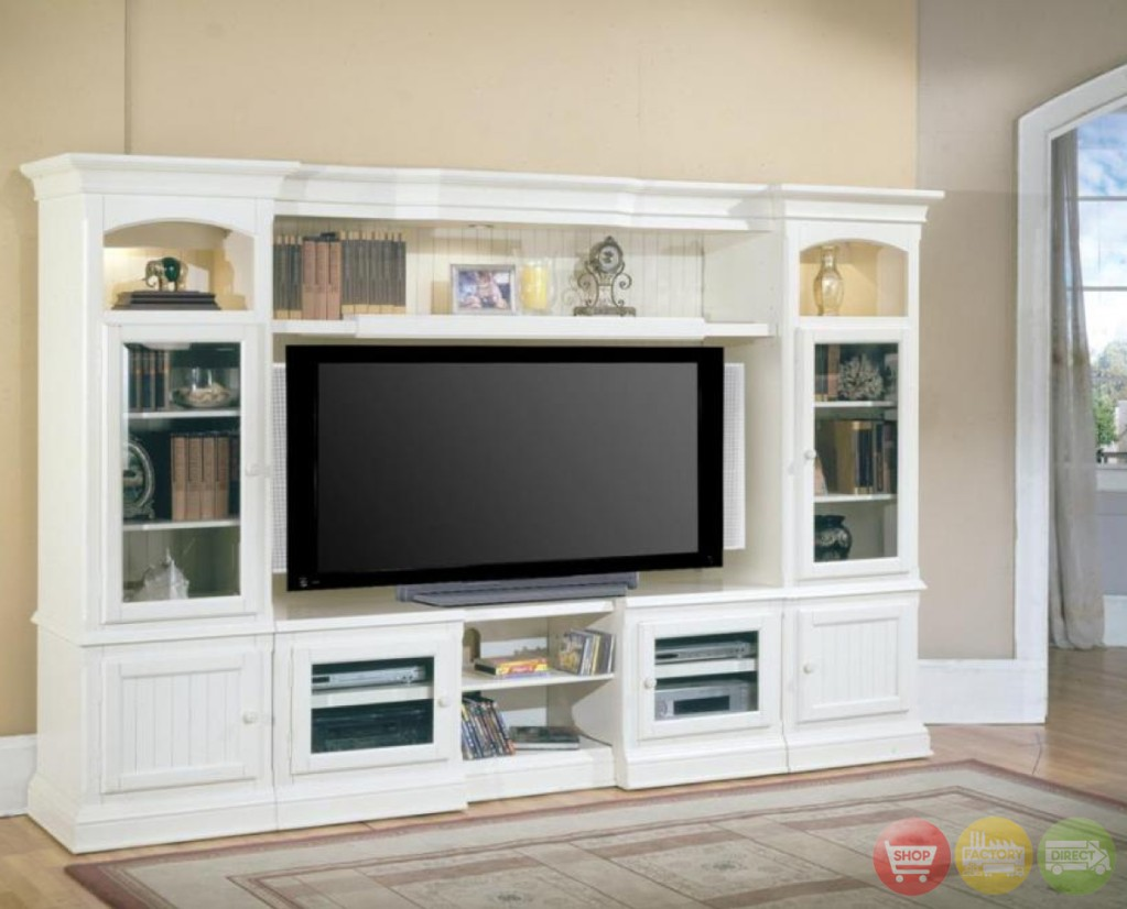 Gentil Hartford 4 Piece Traditional White Wall Unit Tv Entertainment Center