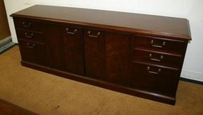 Kimball president walnut executive desk credenza set