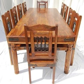 Large Dining Table Chairs Set For 10 Seat People Solid
