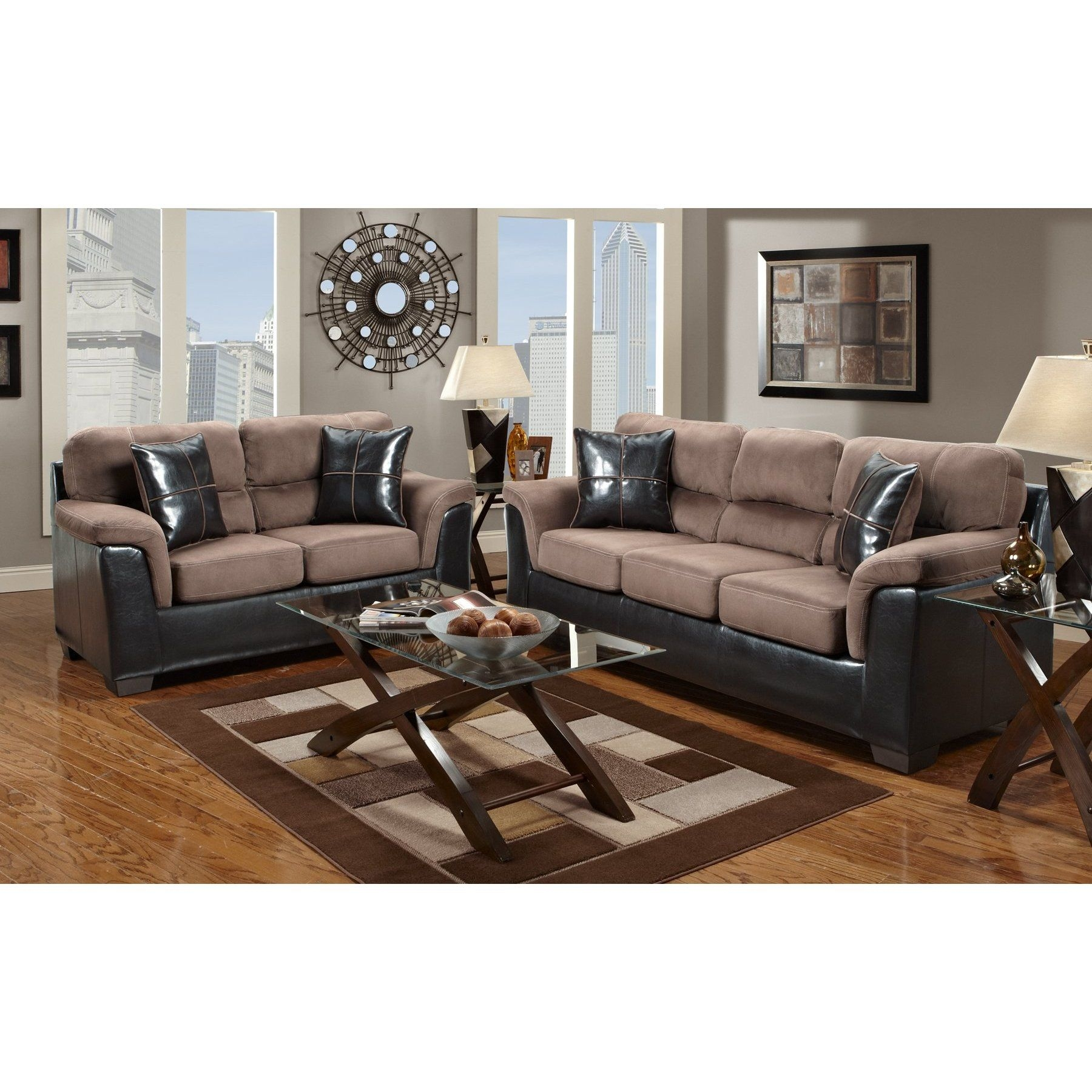 Living Room Interior With Pink Brown Sectional Sofa And Loveseat