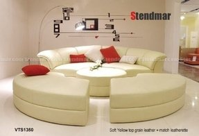 Modern round style soft yellow leather sectional sofa bed 1