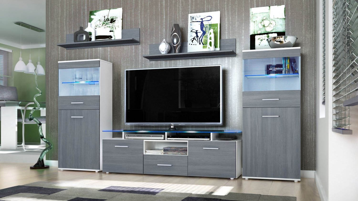 Modern Wall Unit Tv Stand Media Entertainment Center Almada White High Gloss