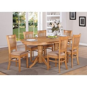 Oval dinette kitchen dining set table w 6 upholstery chairs