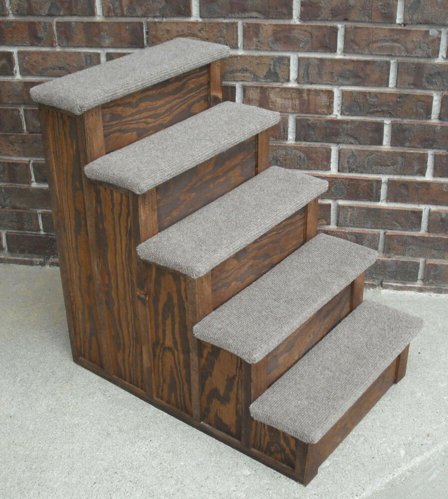 Pet Step 30 Inch Tall Wood Pet 5 Steps Tall Bed Step Stain Choice