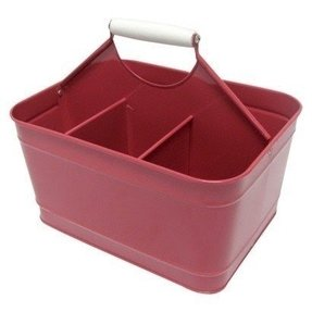 Red metal square utensil caddy