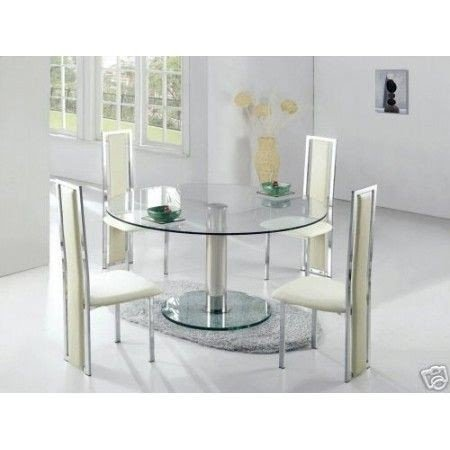 Round Glass Dining Table Large Ice Transparent 6 X D231