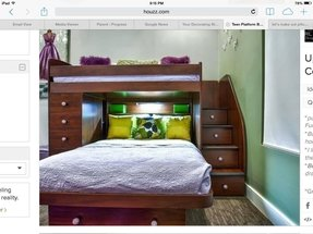 Twin over full bunk bed with stairs that double as