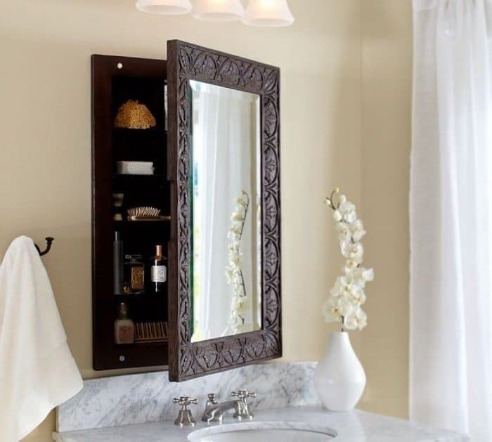 Wood framed medicine cabinets with mirrors