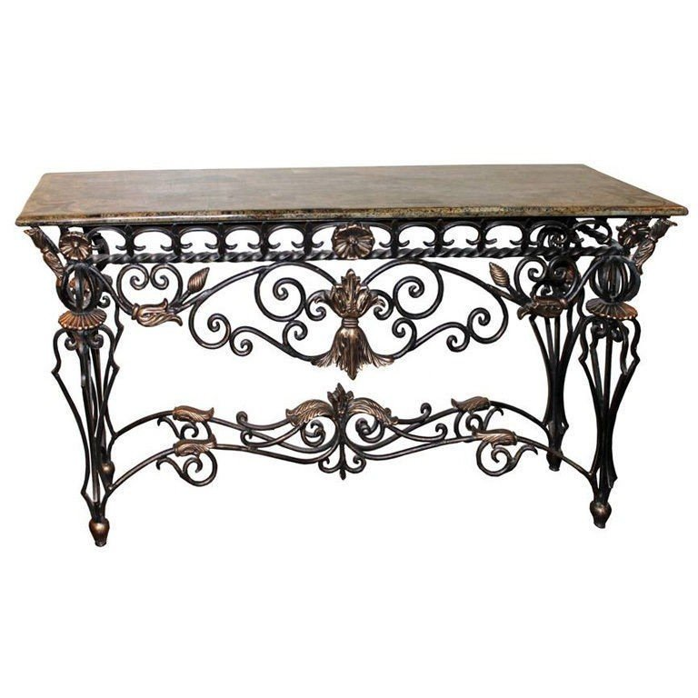 Attirant Wrought Iron Foyer Table 2