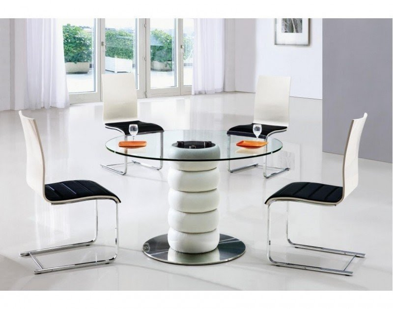 Zeta Round Glass Dining Table And 6 Chairs