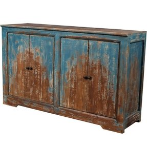 Blue cottage distressed buffet