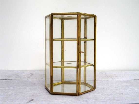 Display case glass and brass box or