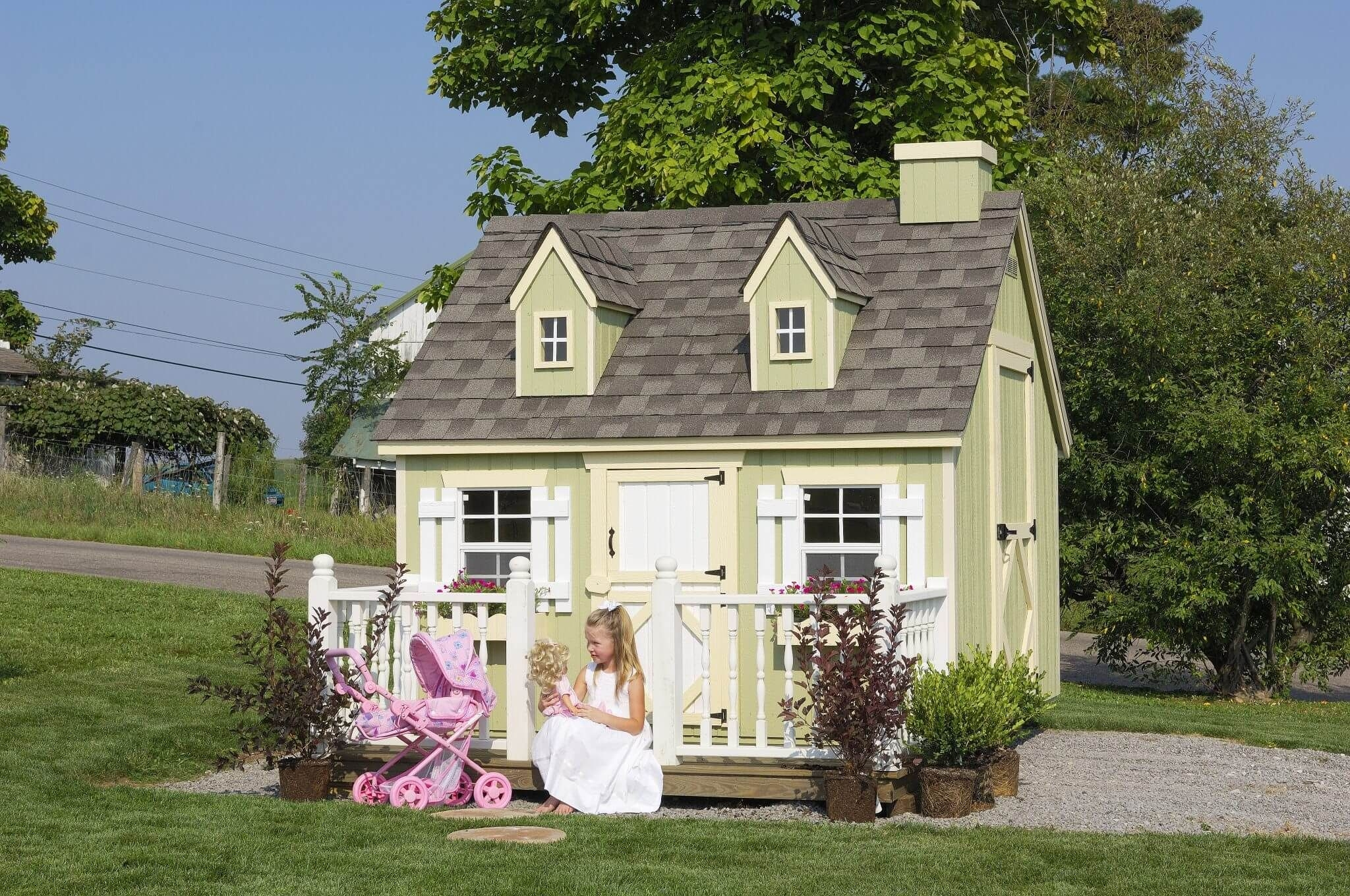 Kids Outdoor Playhouse Kit 8x8 Wooden Cape Cod Style Cottage