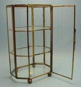 Mini Miniature Brass Glass Display Case 8 5 Curio Cabinet Vtg Norleans Label
