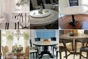 Round marble dining table set