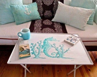 Seaside sale nautical table tv tray turquoise seahorse coral beach