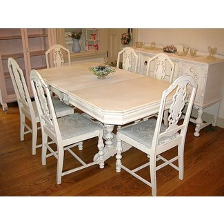 White distressed dining table 2