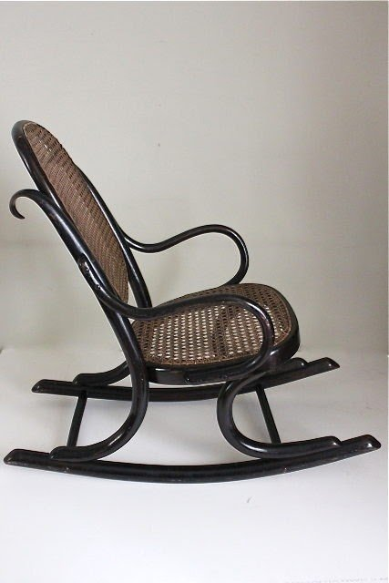 Antique Thonet Ebonised Bentwood Childs Rocking Chair