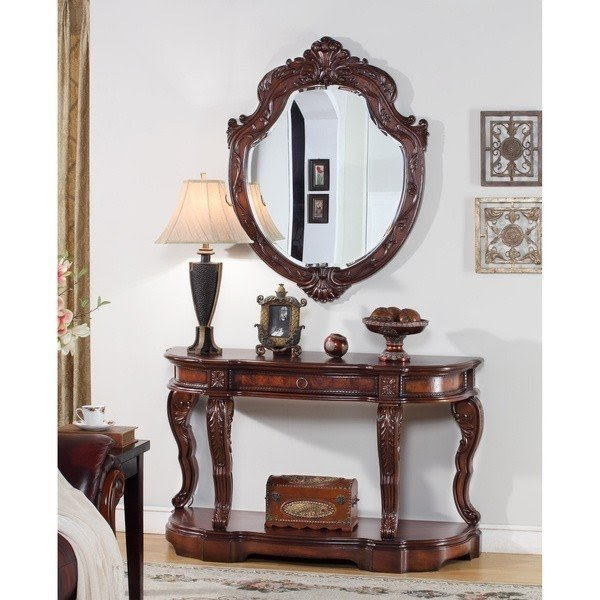 Aposvictorapos traditional 2piece console table and mirror set  sc 1 st  Foter & Entryway Table And Mirror Sets - Foter