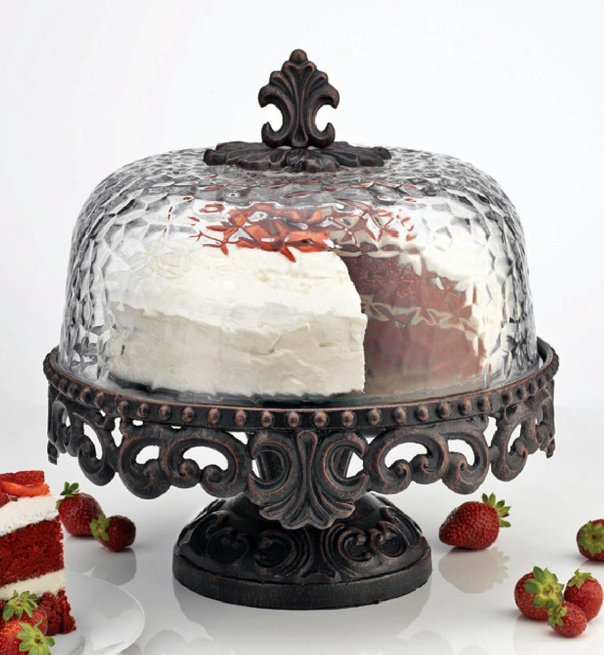 Scrolled metal cake stand with hammered glass dome footed cake  sc 1 st  Foter & Pedestal Cake Plate With Dome - Foter