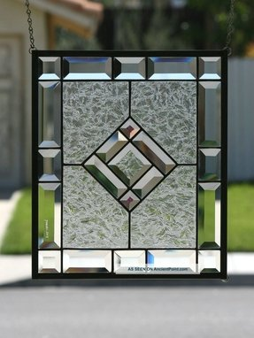 Starshine clear stained glass window panel with faceted bevels 1940
