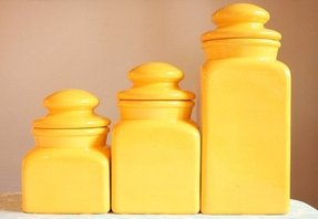 Vintage sunny yellow canister set 1970s 1