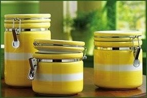 Yellow kitchen canister sets artimino fleur de lis yellow canisters
