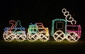 Outdoor christmas train decoration foter 3d train ropelight silhouette with two carriages 1 31m long aloadofball Images