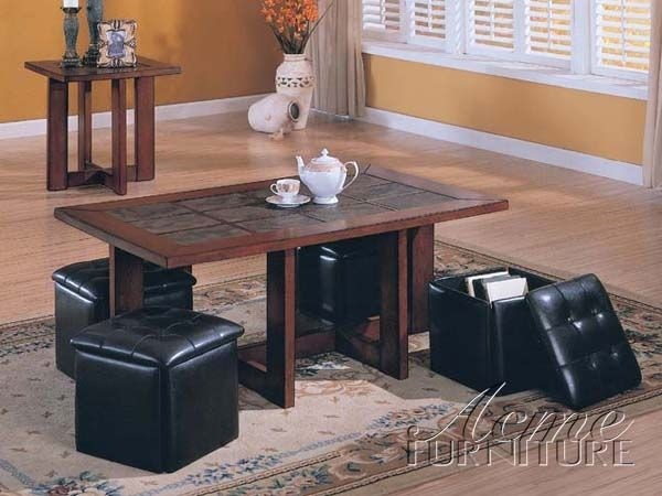 High Quality Coffee Table With 4 Storage Ottomans 1
