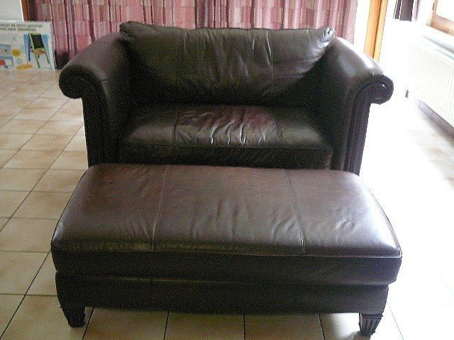 Dark Brown Leather Bernhardt Chair And A Half Ottoman