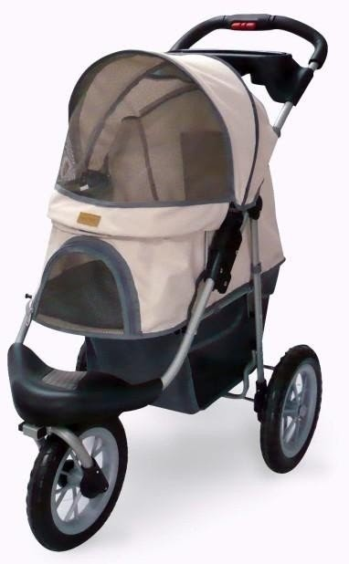 Pet Jogging Stroller With Cup Holder Brown