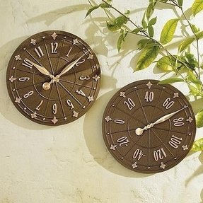 Outdoor Clock And Thermometer Set Foter