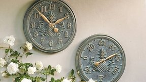 Frontgate classic pineapple indoor outdoor clock and thermometer set pair