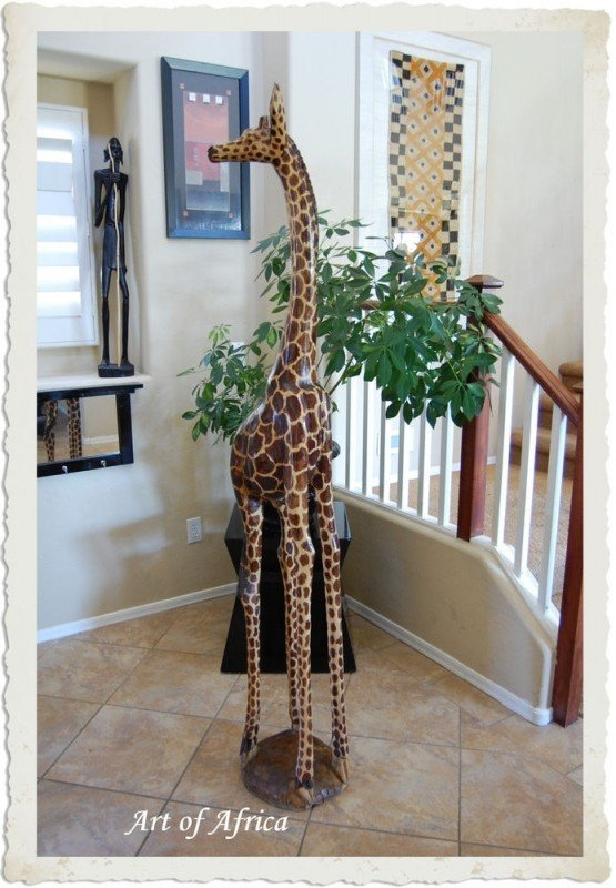 Giraffe large wood sculpture african art carvings 6 ft tall