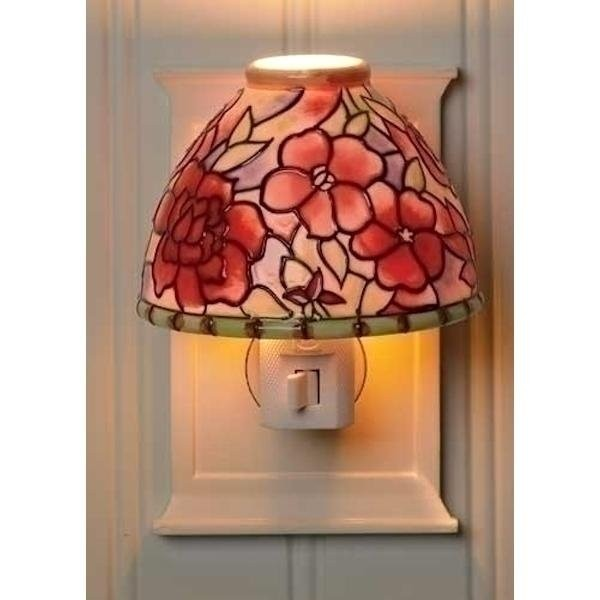 Of 2 camellia flower antique style lamp shade ceramic night