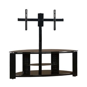 Shelf corner flat panel tv stand with post bracket