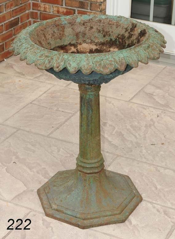 222 Victorian Cast Iron Bird Bath In Old Green Paint