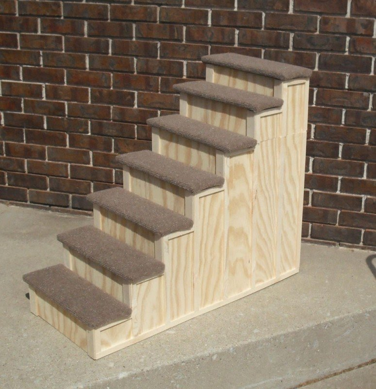 30 x 36 inch wood pet 7 steps tall bed