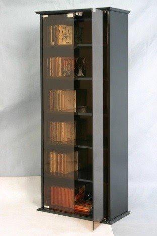 Superb Cd Dvd Storage Unit Black Cabinet Glass Door Bookcase 5