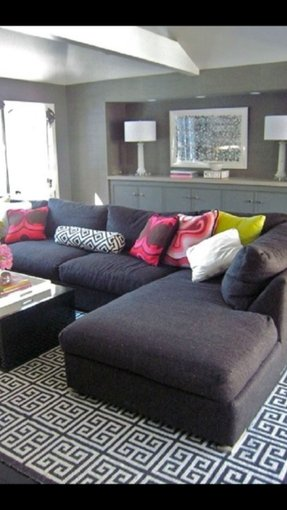 Chic Modern Gray Living Room Design With Charcoal Sectional