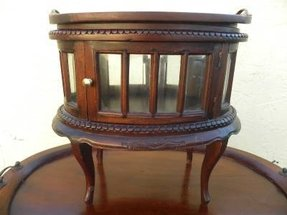 Curio vitrine accent table w bevelled glass cabinet serving tray