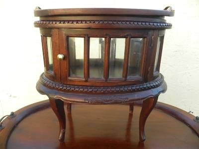 Etonnant Curio Vitrine Accent Table W Bevelled Glass Cabinet Serving Tray
