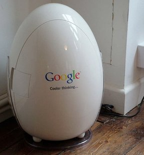 Refrigerator google branded egg shaped fridge promotes cooler thinking